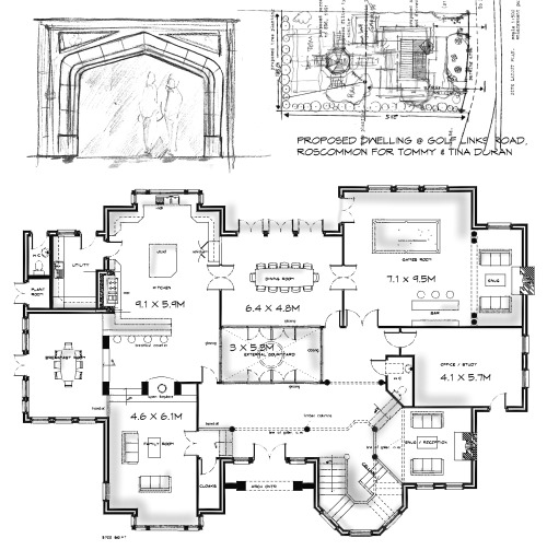 dwelling-roscommon-layouts1 dwelling house at golf links road, roscommon town architects design